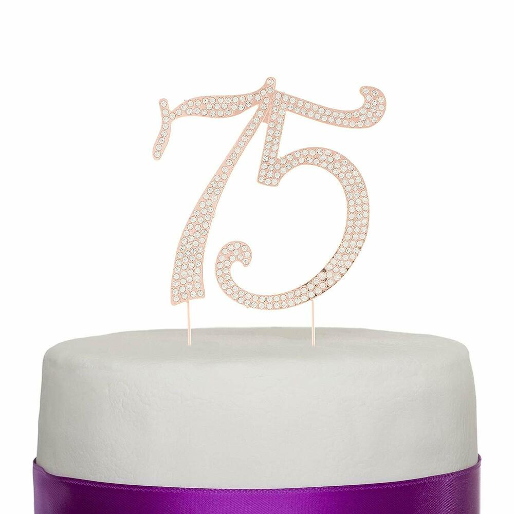 Details About 75 Rose Gold Cake Topper For 75th Birthday Or Anniversary