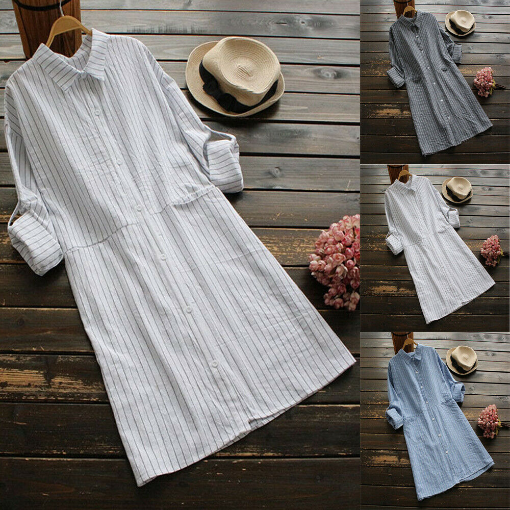 b2edd61f985d Details about Women s Loose Casual Cotton Linen Blouse Long Sleeve Tops  Button Down T Shirt US