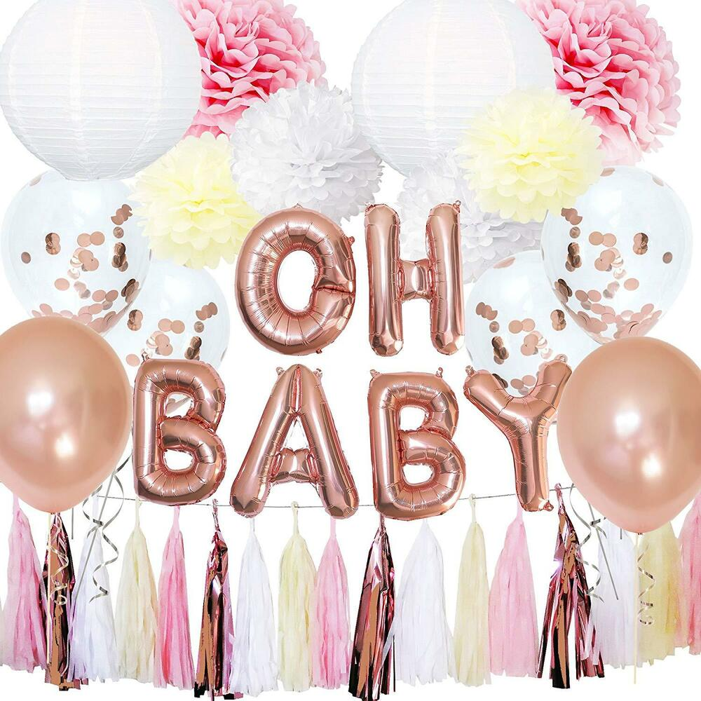 Rose Gold Baby Shower Decorations For Girl Oh Baby Banner Garland