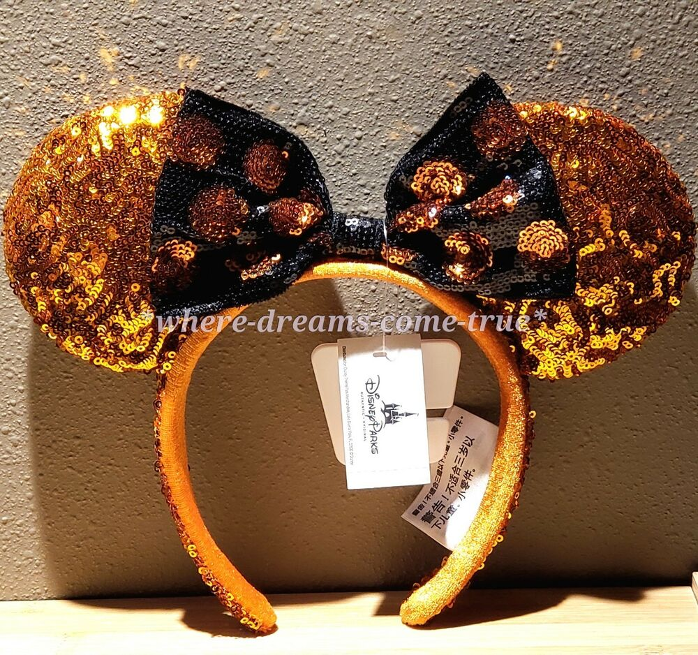 f26f675a8d2 Details about Disney Parks Minnie Mouse Halloween Ears Sequined Headband ( NEW)