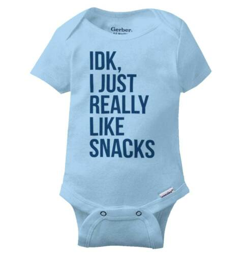 IDK I Just Really Like Snacks Gerber Onesie Hungry Feeding Novelty Baby Romper