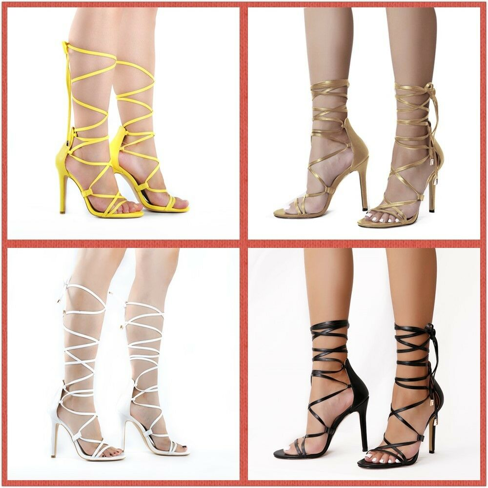 e098ad2596 Details about Ladies Women Lace Up 12CM High Heels Ankle Strap Strappy  Gladiator Sandals Size