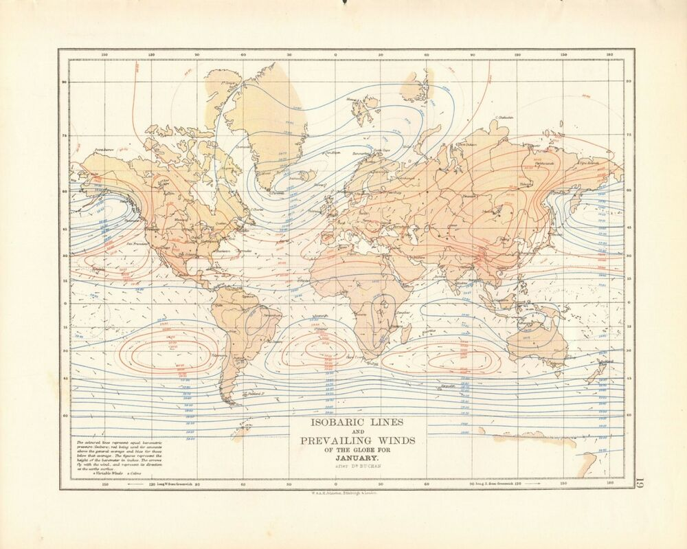 1897 ANTIQUE MAP- JOHNSTON - THE WORLD, ISOBARIC LINES, PREVAILING ...