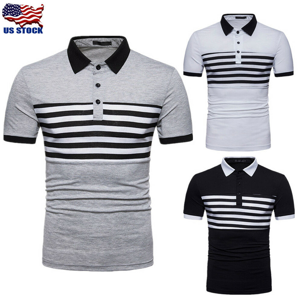 Mens Casual Slim Fit Polo Shirt Tee Short Sleeve Summer Stylish T