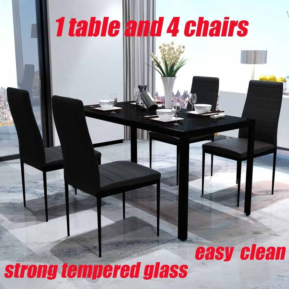 Contemporary 5 Piece Dining Set With 1 Table And 4 Artificial