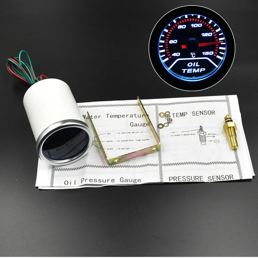 Details about 52mm Universal LED Motorcycle Oil Temperature Gauge Temp  Meter 150℃ 10MM Sensor