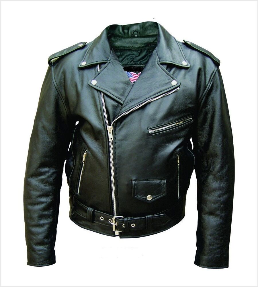 Mens Classic Police Style Motorcycle Jacket With Side