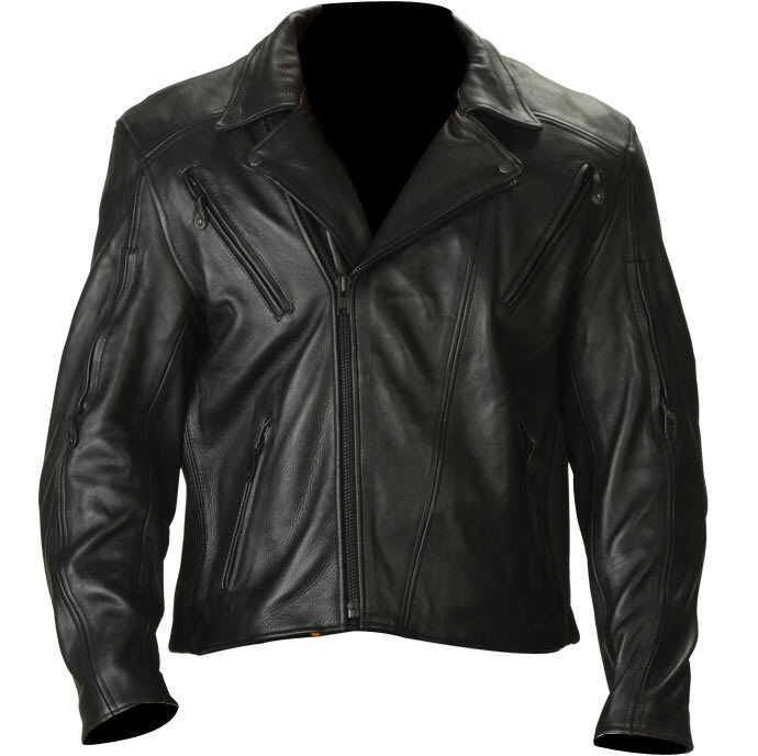 Thick naked leather motorcycle jacket
