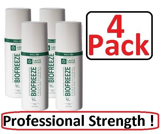 Biofreeze Professional 3 oz Roll On - 4 Pack - FREE SHIPPING - ALWAYS FRESH !