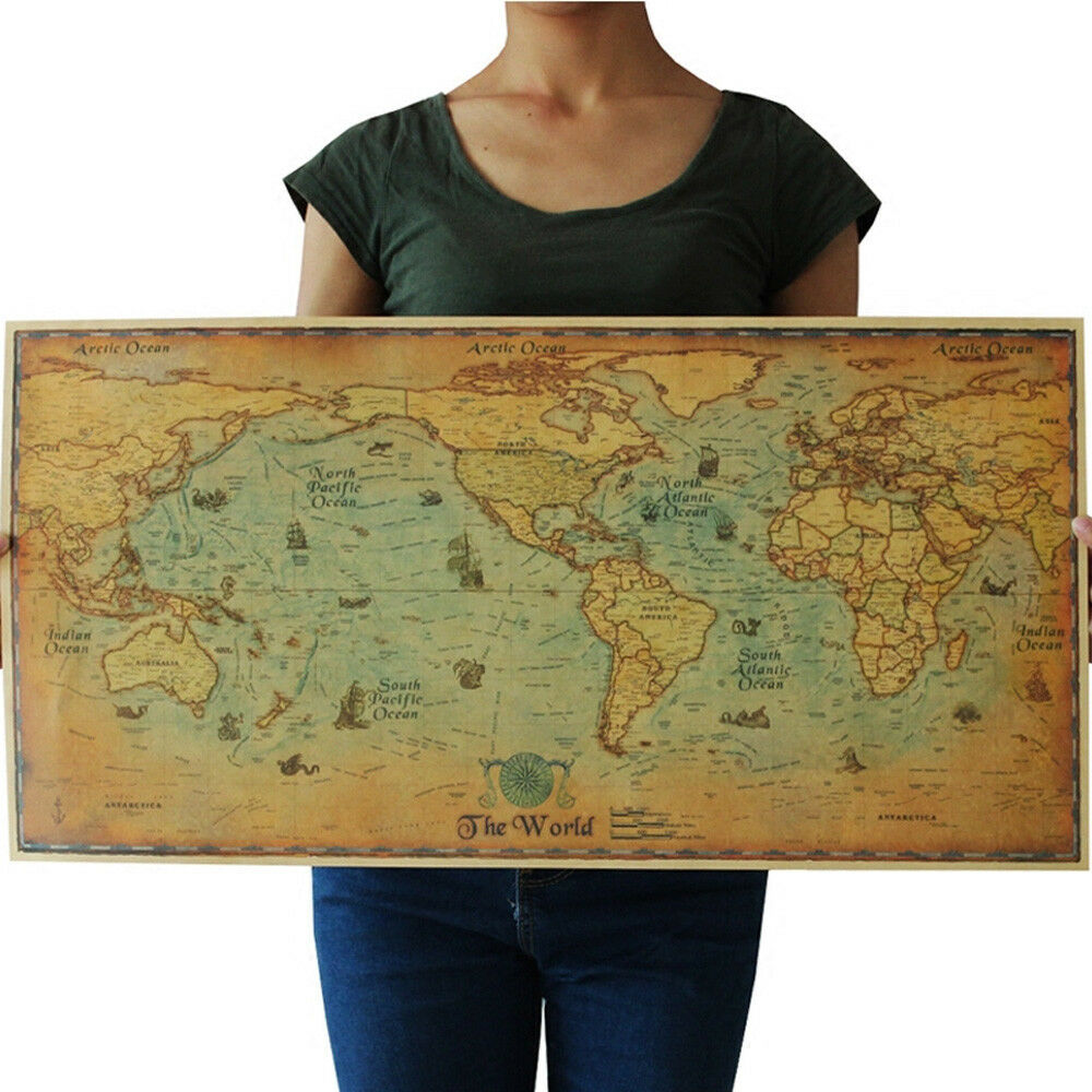 Large Paper World Map.The Old Ocean Sea World Map Large Vintage Style Retro Paper Poster
