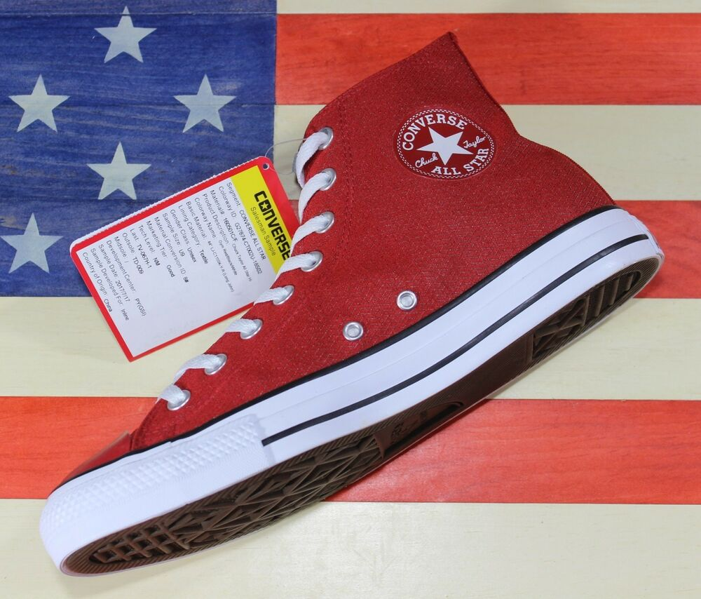 4dc4aaeb5f5a Details about CONVERSE SAMPLE Chuck Taylor ALL-STAR HI Gym-Red Black White  Vegan  160501C  - 9