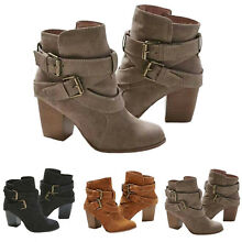 Women's Block High Heel Short Ankle Boots Casual Buckle Martin Booties Shoes US