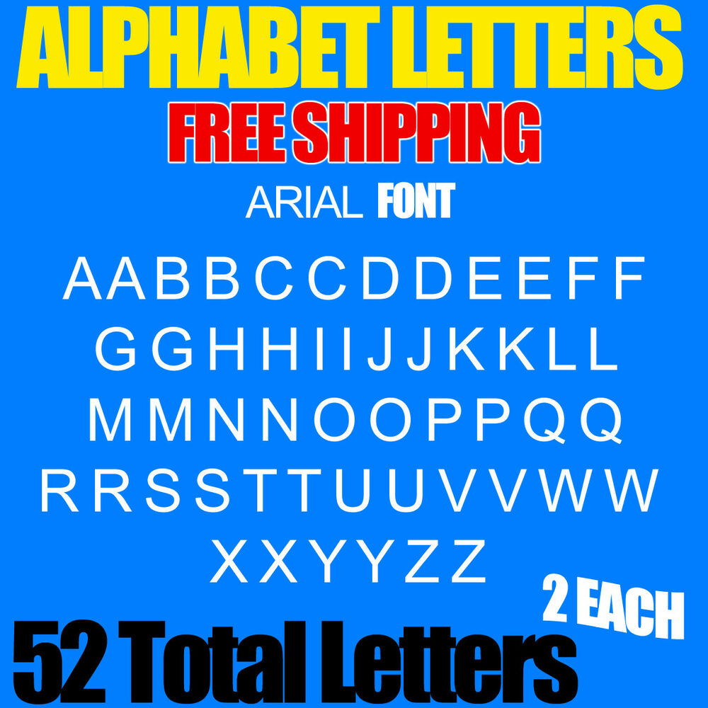 Details about alphabet letters decals pack arial 3 4 1 1 5 2 2 5 3 free ship stickers