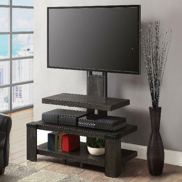 Whalen Black Tv Stand For 65 Inch Flat Panel Tv Tempered