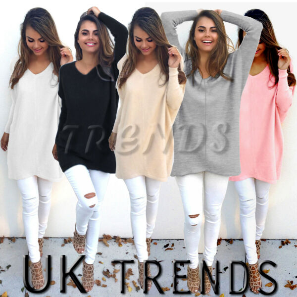 UK Womens Oversize Jumper Pullover Hoodies Top Winter Sweatshirt Ladies Dress