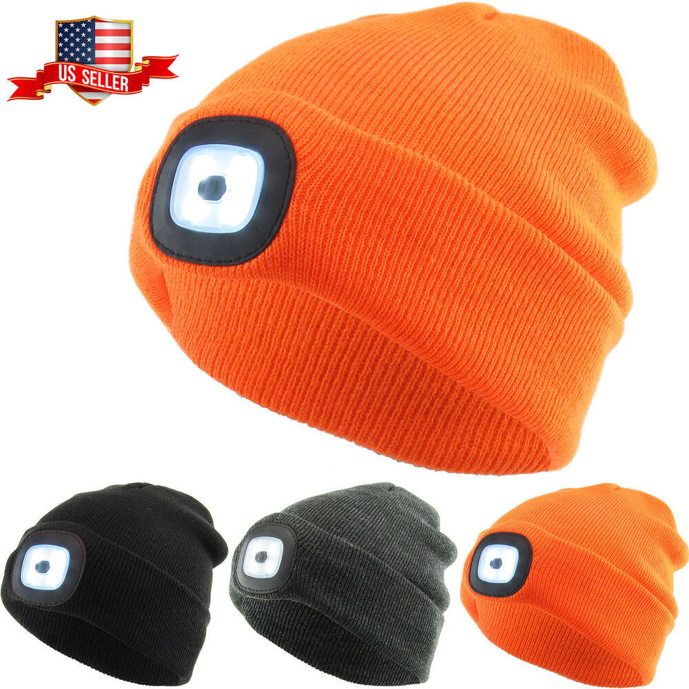 38a55379b LED Light Beanie Winter Ski Hat Skull Cap Rechargeable USB | eBay