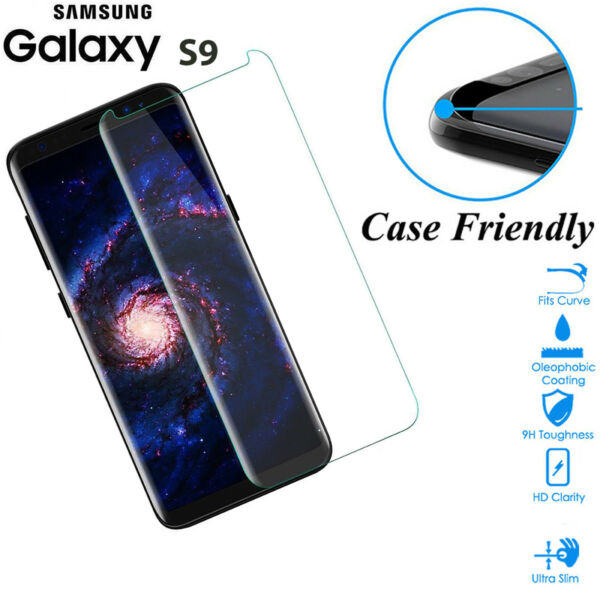 Case Friendly Tempered Glass Screen Protector Cover For Samsung Galaxy S9 Clear