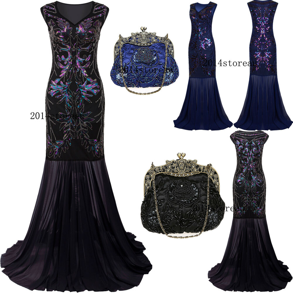 a2ebfc8986e Details about Long Prom Dresses 1920s Flapper Dress Vintage Gatsby Evening  Gown Plus Size 4-20