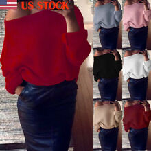 US Womens Off Shoulder Knit Knitted Jumper Top Oversize Baggy Ladies Sweaters