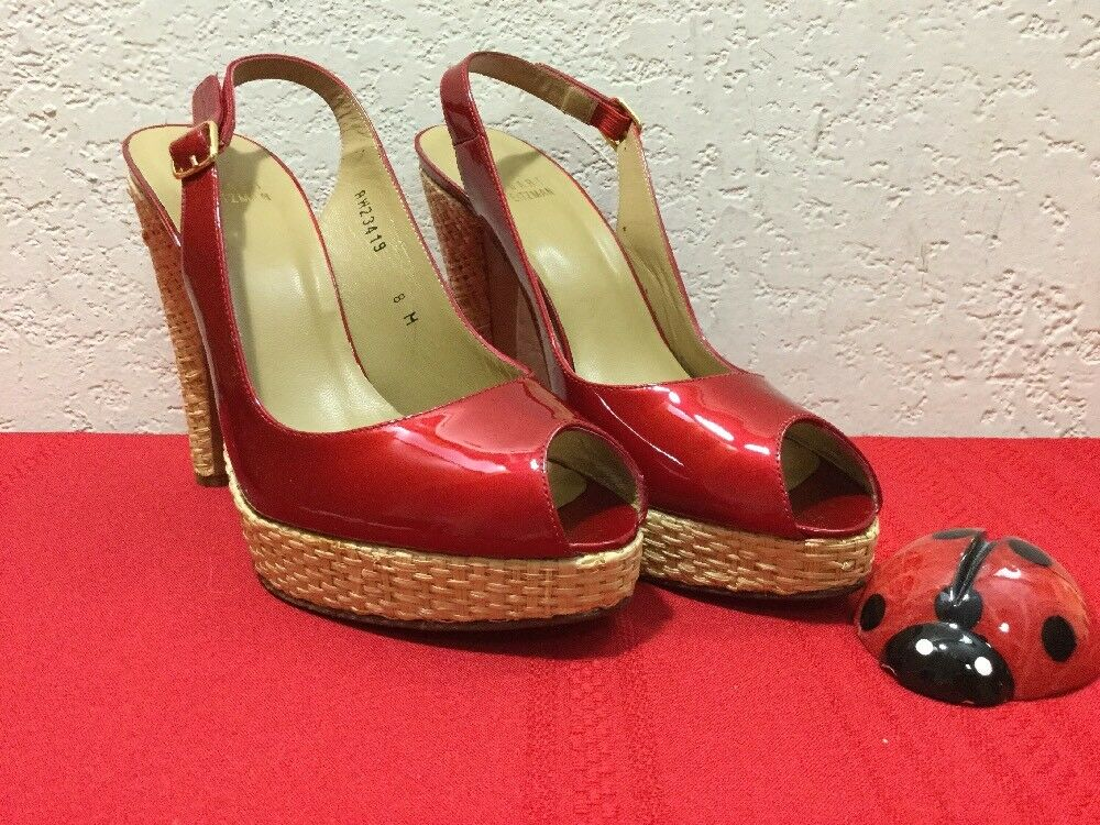 6069f667d77e Details about STUART WEITZMAN Red Patent Leather Pumps Straw Heels Platform  Sz 8 Open Toe