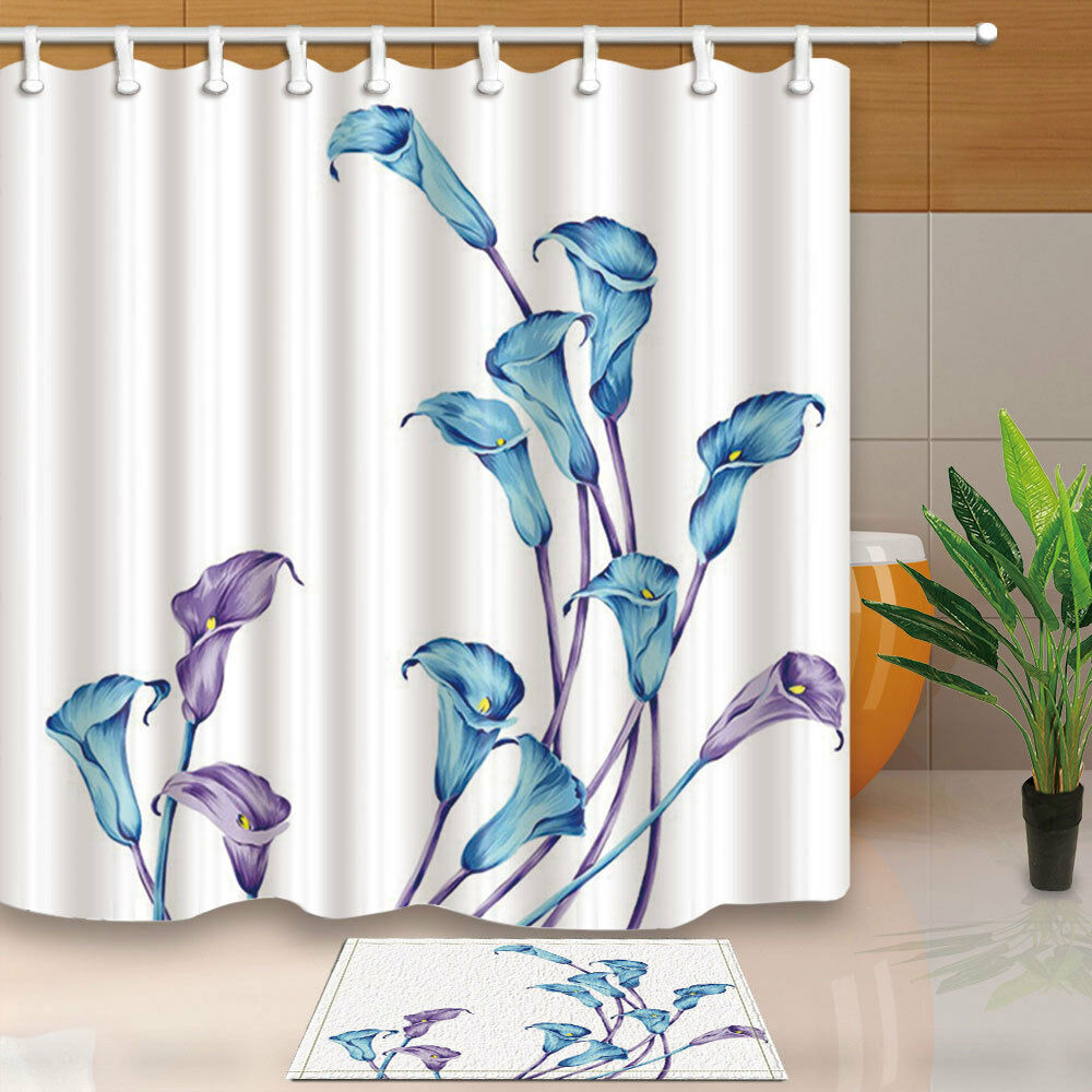 Turquoise Calla Lily Curtain Shower Bathroom Waterproof Fabric 12Hooks 7171in