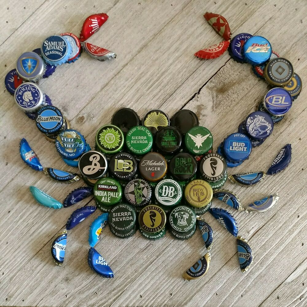 Craft Beer Bottle Cap Crab Wall Art
