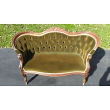 Antique Victorian Era Green Velvet Loveseat - Very Good Condition