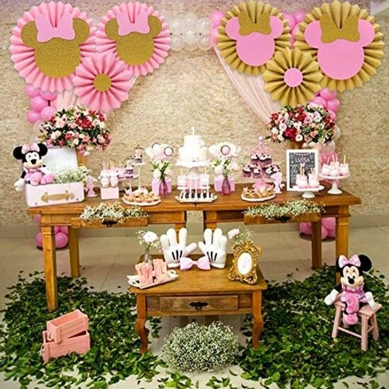6 Pink Gold Minnie Mouse Backdrop Decorations Birthday ...