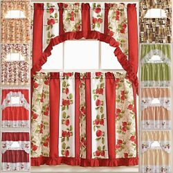Kyпить Kitchen Curtains 3 Pc. Set with Attached Valance Tier and Swag Set Red Brown на еВаy.соm