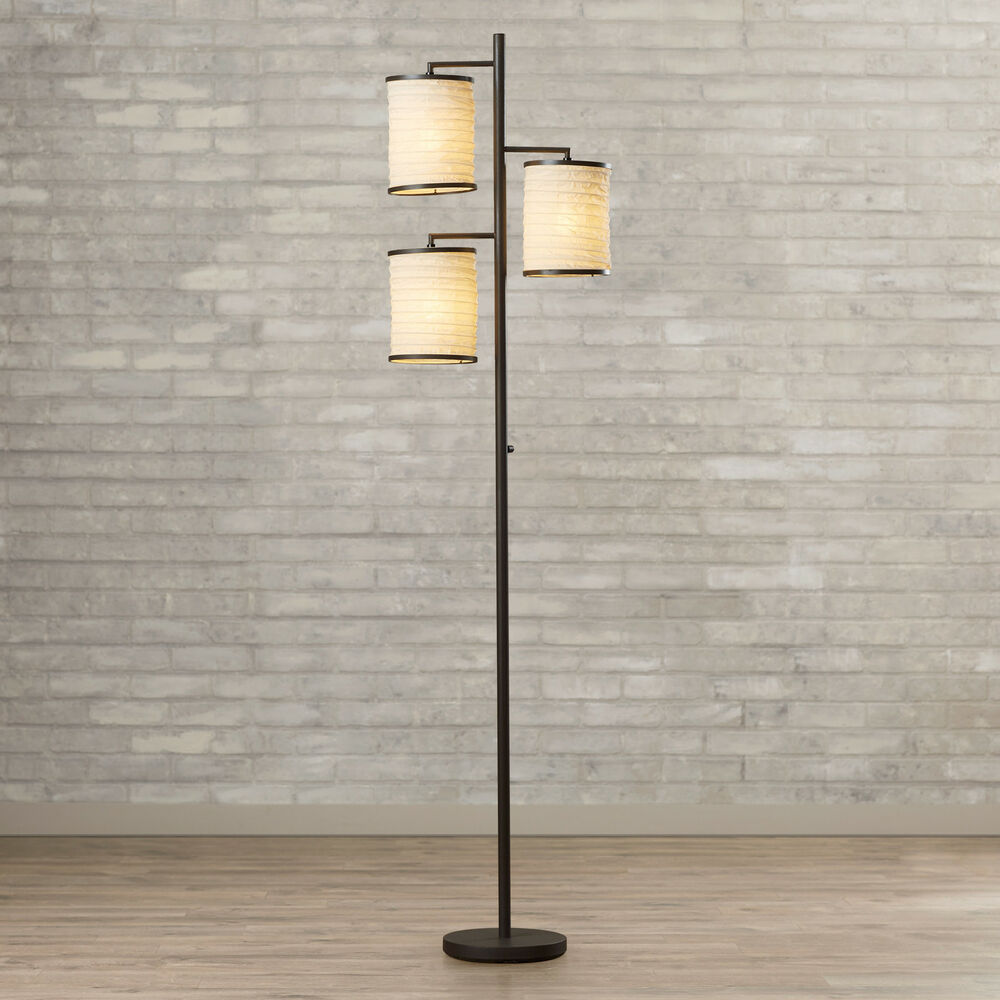 Details About 74 Antique Bronze Finish Standing 3 Shade Floor Lamp Home Living Room Furniture
