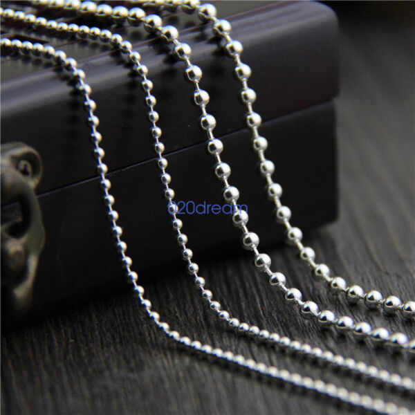 925 Sterling Silver Bead Ball Chain Necklace 16 to 28