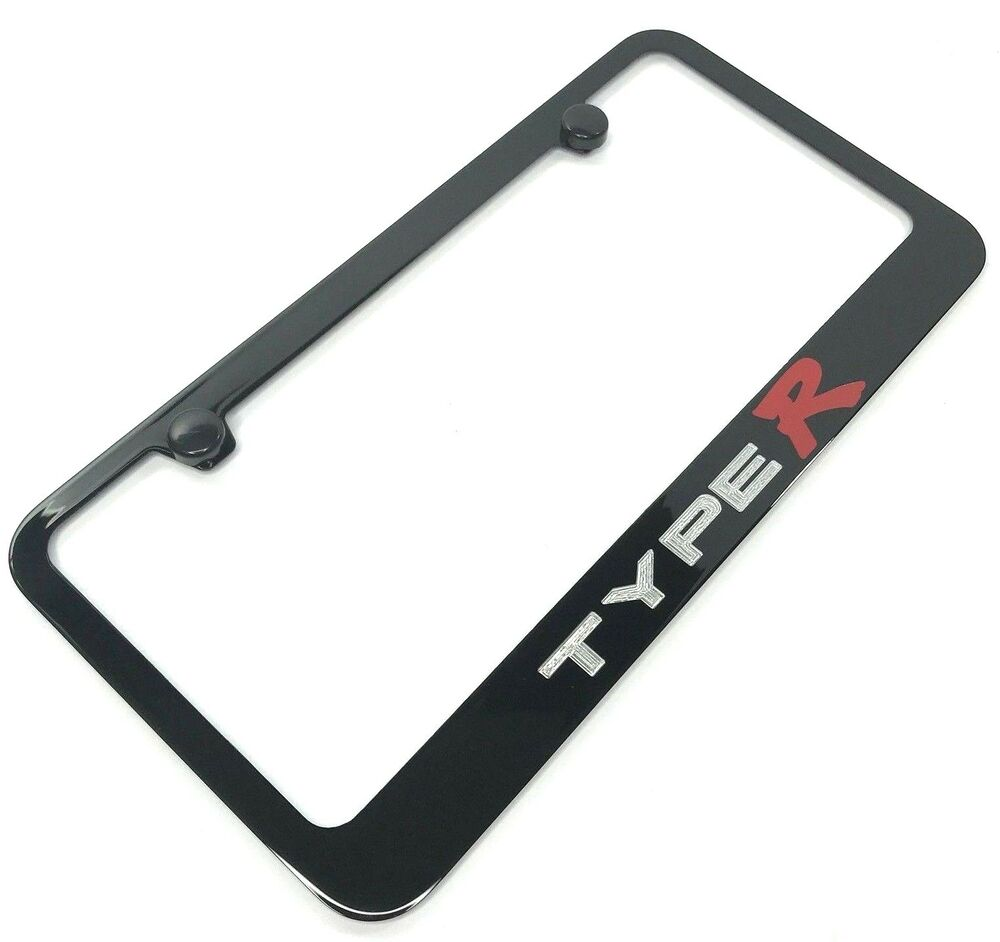 Acura Type R Black License Plate Frame (Engraved Metal