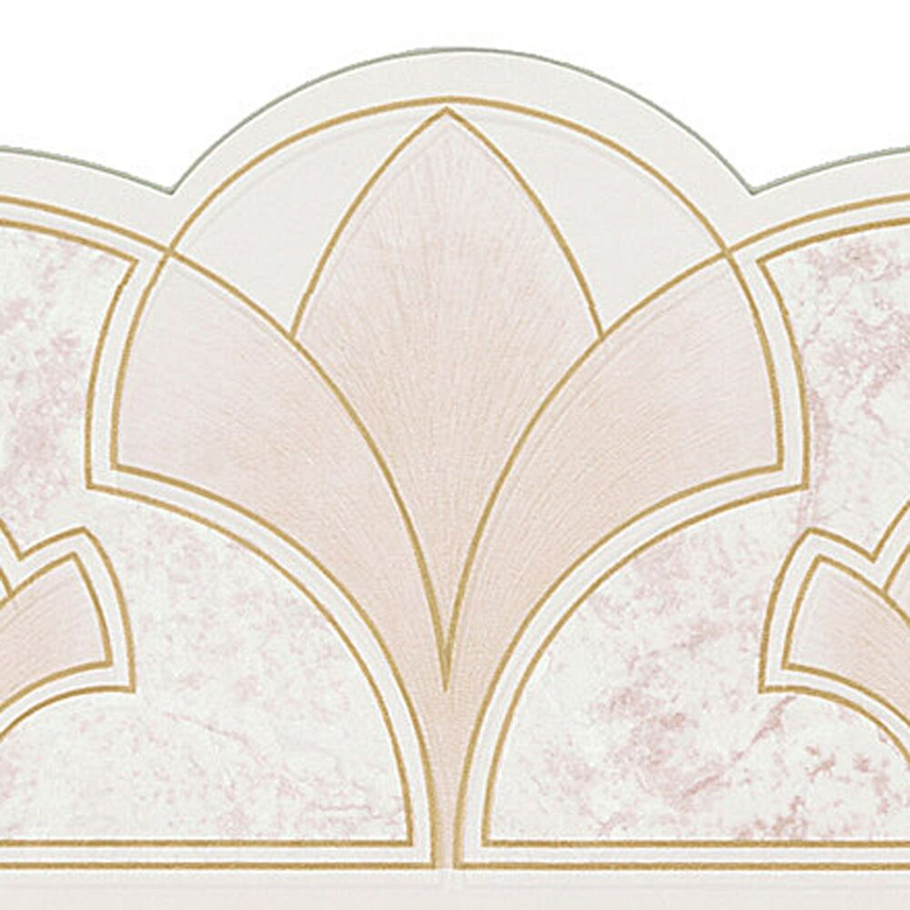 Art Deco Wallpaper Border Geometric Fans Ivory Gold Brewster