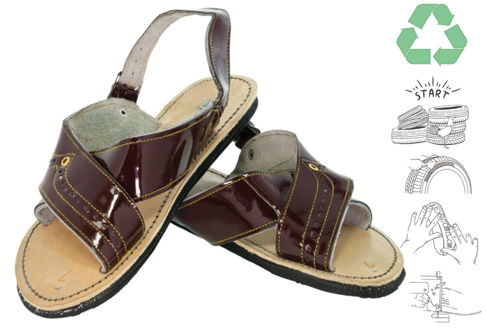 666c704a61abe Details about Mens Eco Upcycled Tire Soles Sandals Brown Open Toe Huaraches  Outdoor Flip Flop