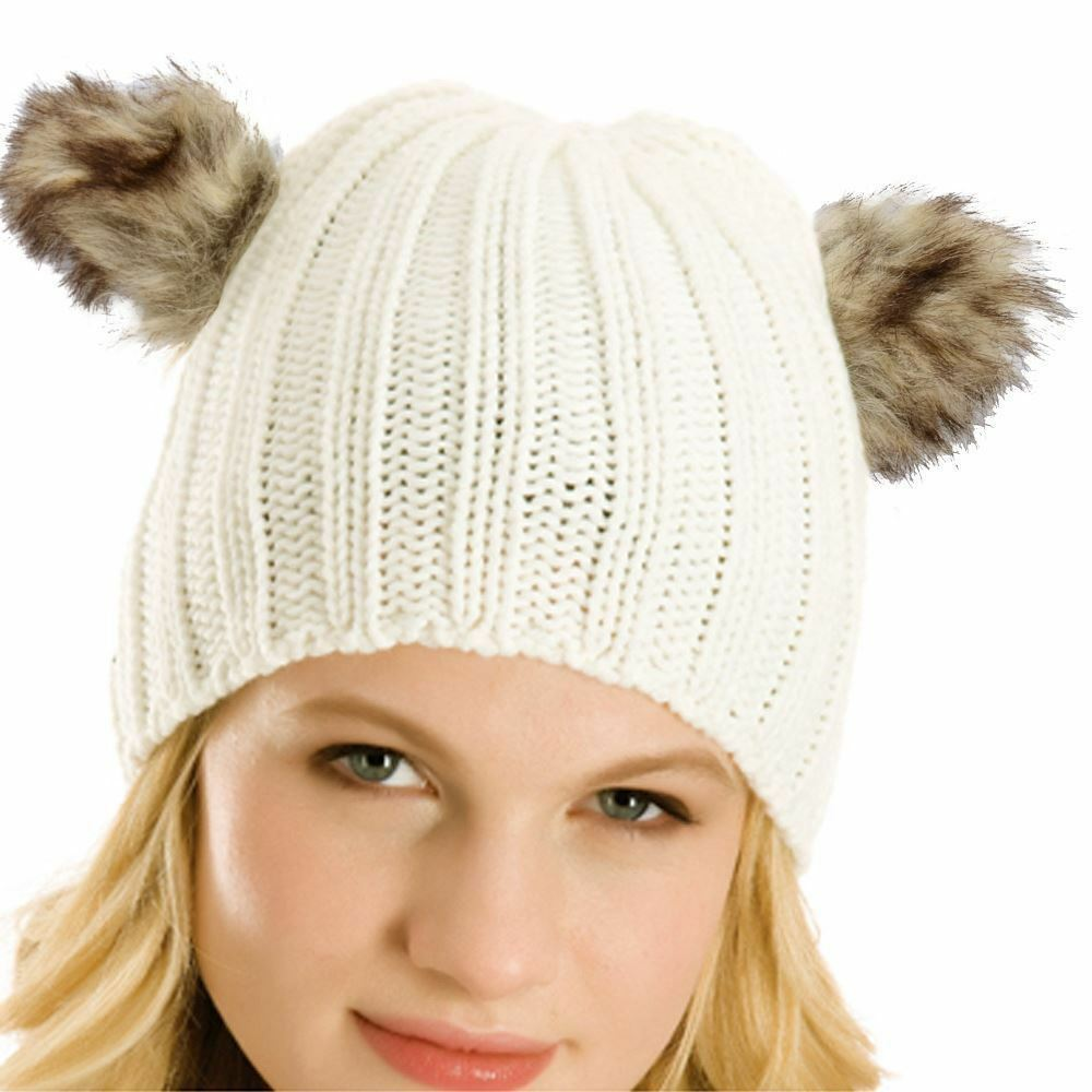 d793280fd76 Details about Women Rib Knitted Beanie Hat With Faux Fur Animal Bear Ears  Cream Grey Black Hat