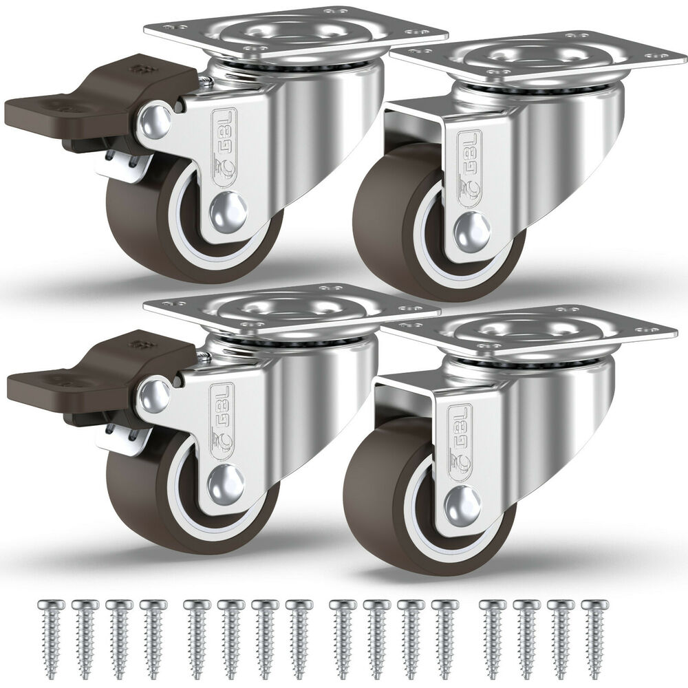 Details about 4 x heavy duty 25mm rubber swivel castor wheels trolley furniture caster brake