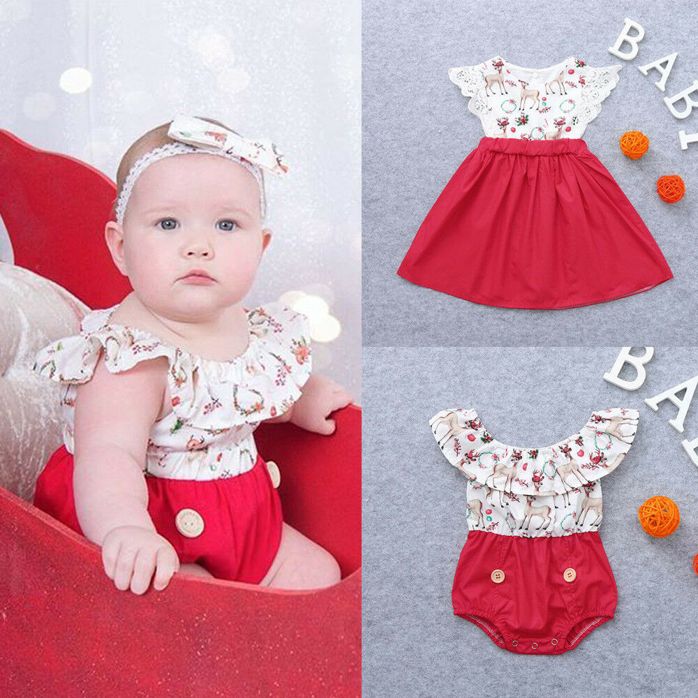 Toddler Christmas Kid Baby Girl Xmas Sister Deer Lace Party Dress