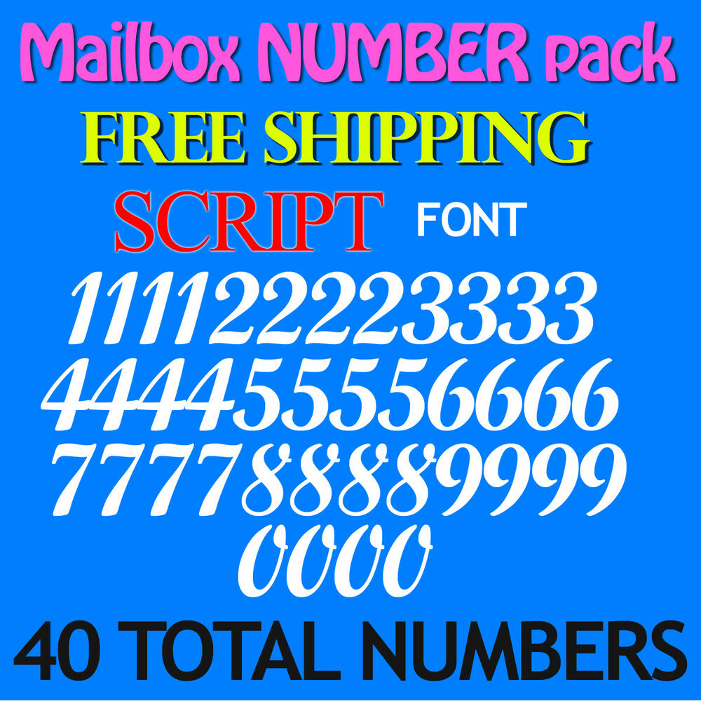 Details about mailbox number pack decals script 3 4 1 1 5 2 2 5 3 free ship stickers