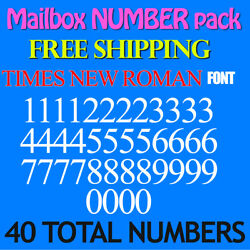 Mailbox NUMBER Decal TIMES NEW ROMAN 3/4'' up to 5'' size FREE SHIP STICKERS