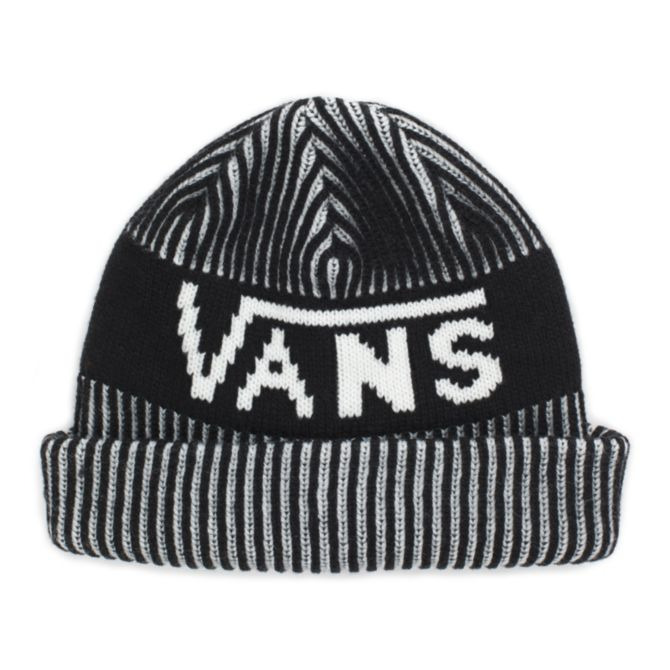 8cfa8416fb Details about Vans Off The Wall Stripe Cuff Knit Beanie Black and White  100% Acrylic NEW NWT