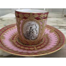 Early 19th Century Paris Porcelian Cup & Saucer Illustrated