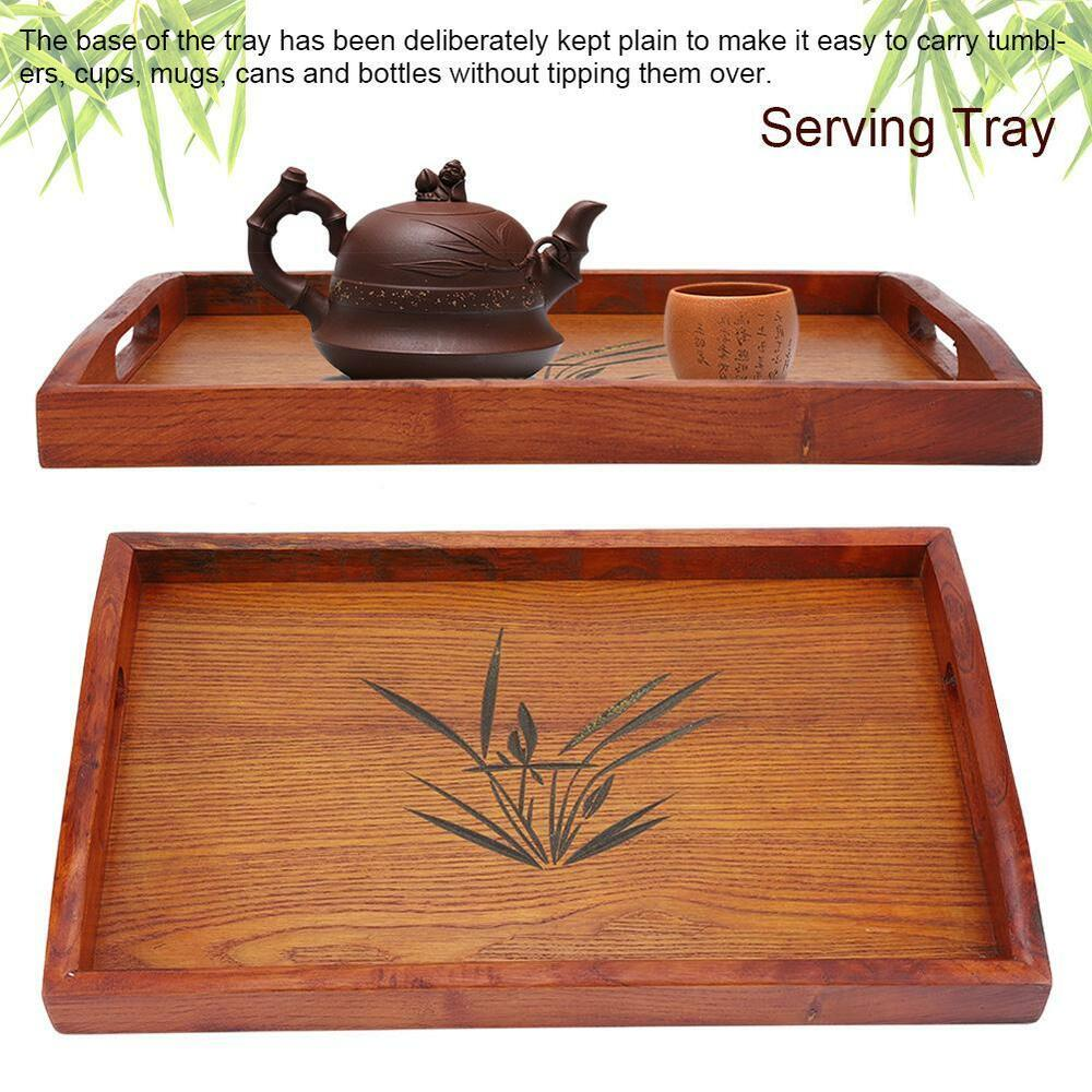 Large Wooden Coffee Table Tray: Wooden Serving Tray With Handles Food Wood Table Bamboo