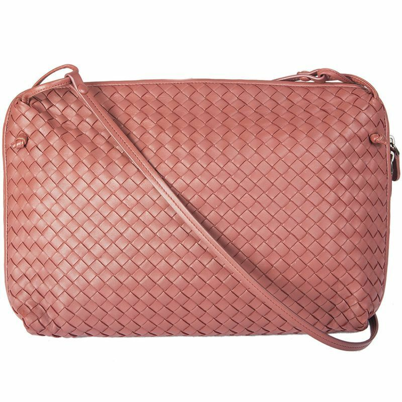 2914894c12b1 Details about 54868 auth BOTTEGA VENETA pink Intrecciato leather NODINI  Cross-Body Bag
