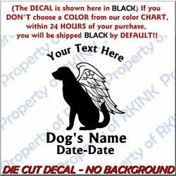 Personalized DOG MEMORY Wings #2A Vinyl DECAL for Wall Window Car Lab Retriever