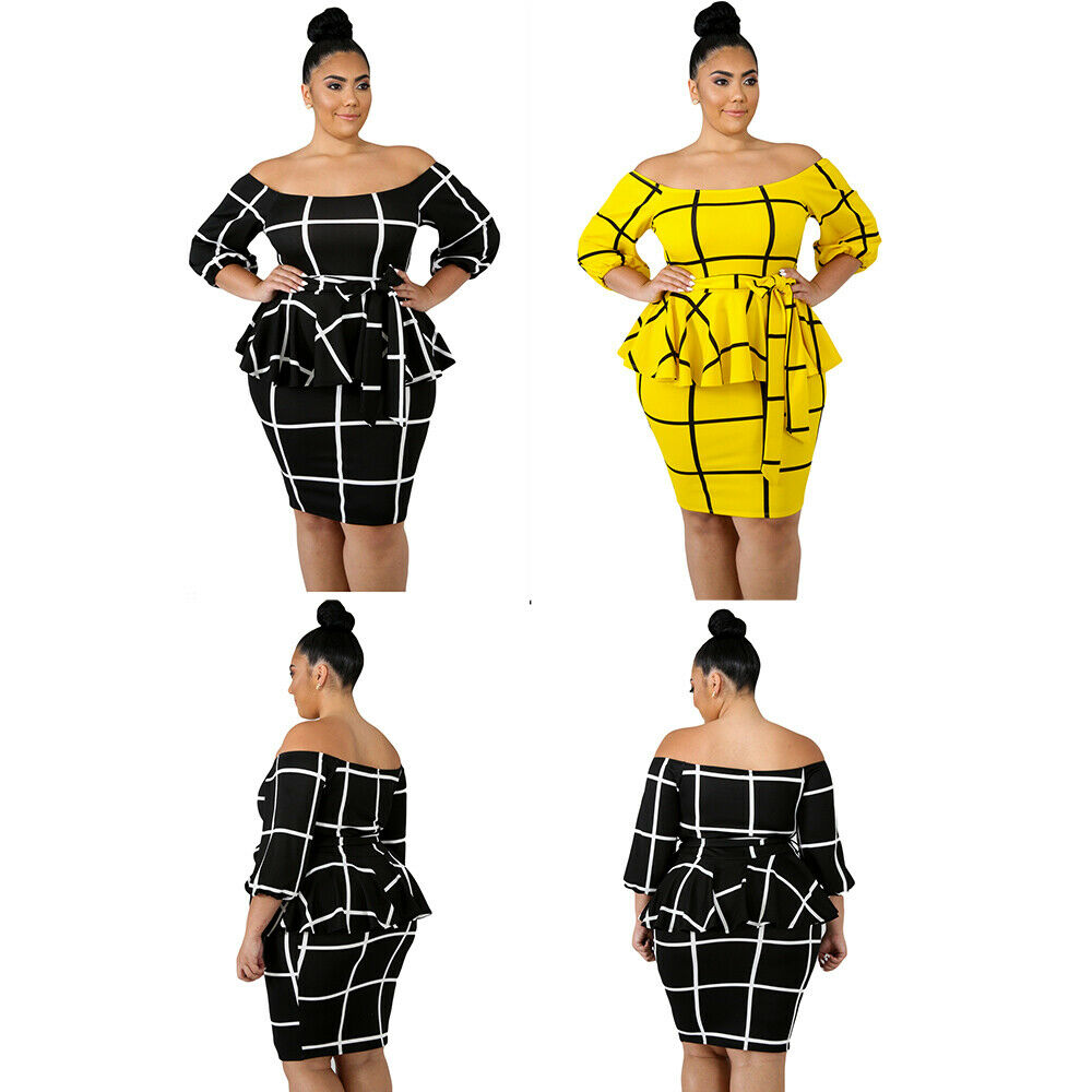 Women Fashion Black White Yellow Checked Plus Size Peplum Dress ...