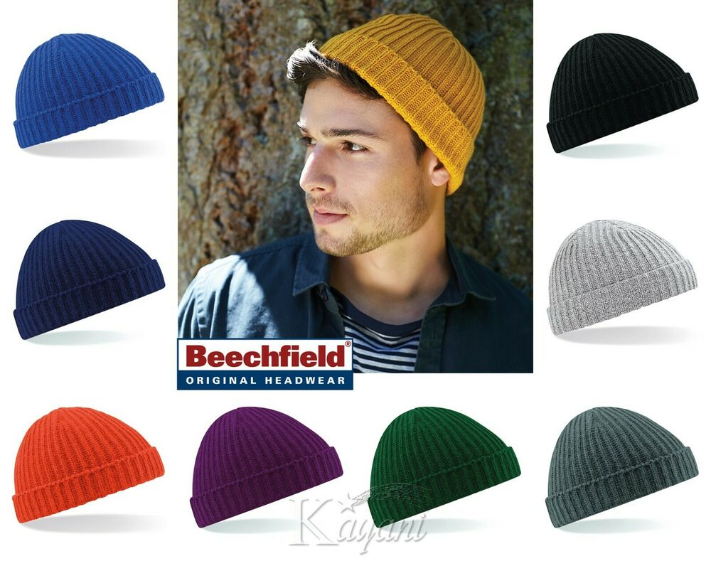 b7d1097ae3732 Details about Beechfield Trawler Fisherman Beanie Ribbed Cuffed Hat Retro  Hipster Wooly Beanie