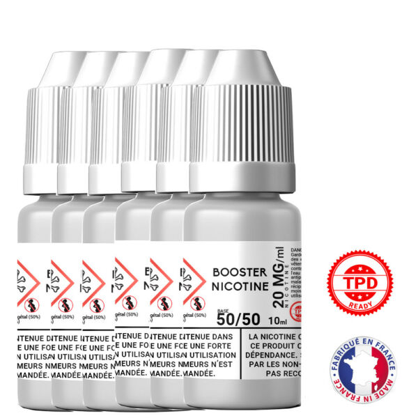 Pack Booster Nicotine 20 mg 10 ml 50/50 - 50% PG / 50% VG DIY Lot de 6 Bouteille
