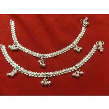 Pakistani Bollywood pair anklet ankle bracelet silver bells India jewelry payal