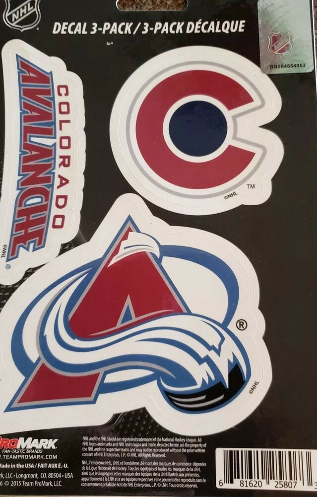 f2da9f7a Details about NHL, COLORADO AVALANCHE 3 PACK DECALS, PRO MARK BRAND, NEW