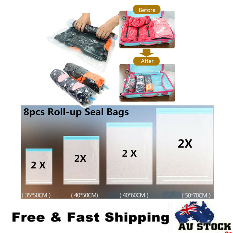 4f5fce7a278 Details about 8 X Roll-up Seal Compression Storage Bag Travel Space Saver  No Vacuum Bags